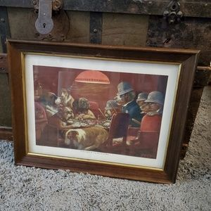 Dogs Playing Poker PINCH WITH FOUR ACES Framed Art
